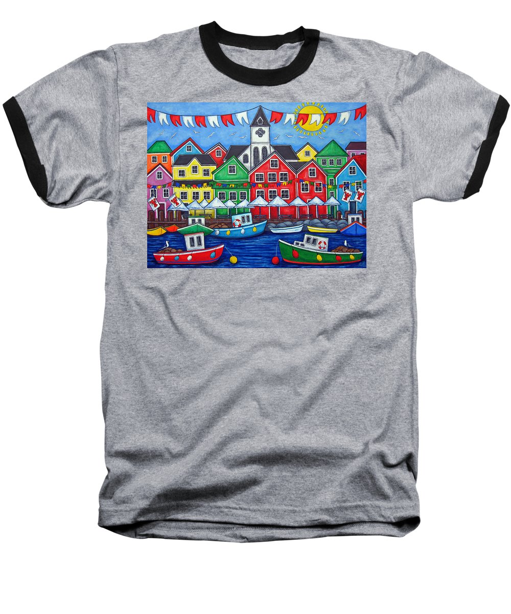 Boats Canada Colorful Docks Festival Fishing Flags Green Harbor Harbour Baseball T-Shirt featuring the painting Hometown Festival by Lisa Lorenz