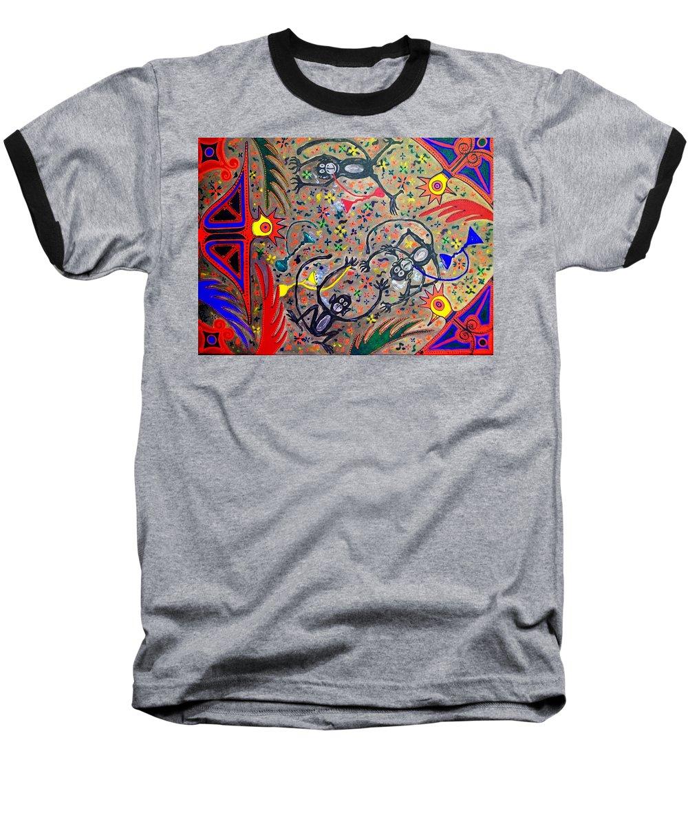 Contemporary Folk Art Baseball T-Shirt featuring the painting Hookah Monkeys - Jinga Monkeys Series by Fareeha Khawaja