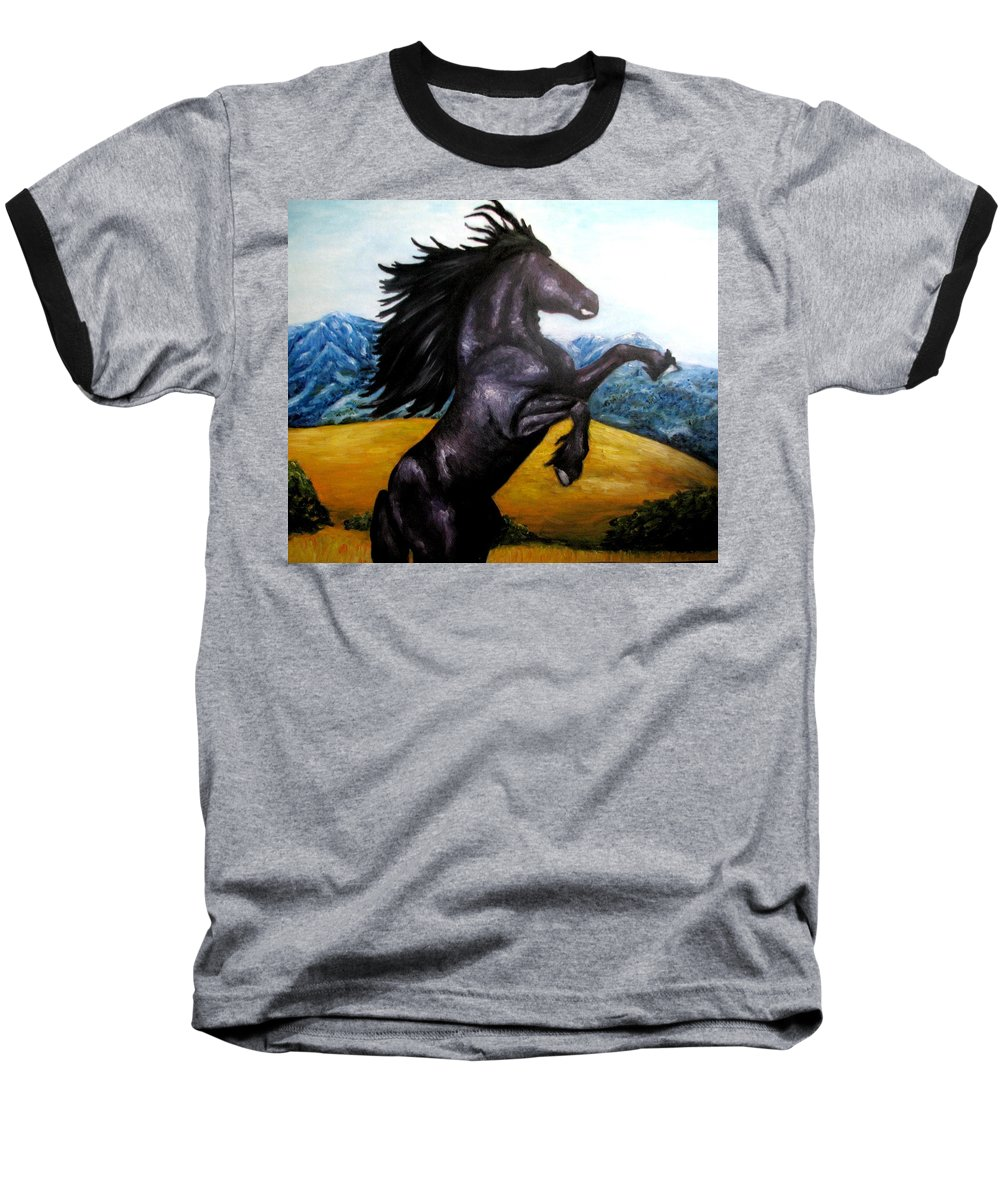 Horse Baseball T-Shirt featuring the painting Horse Oil Painting by Natalja Picugina