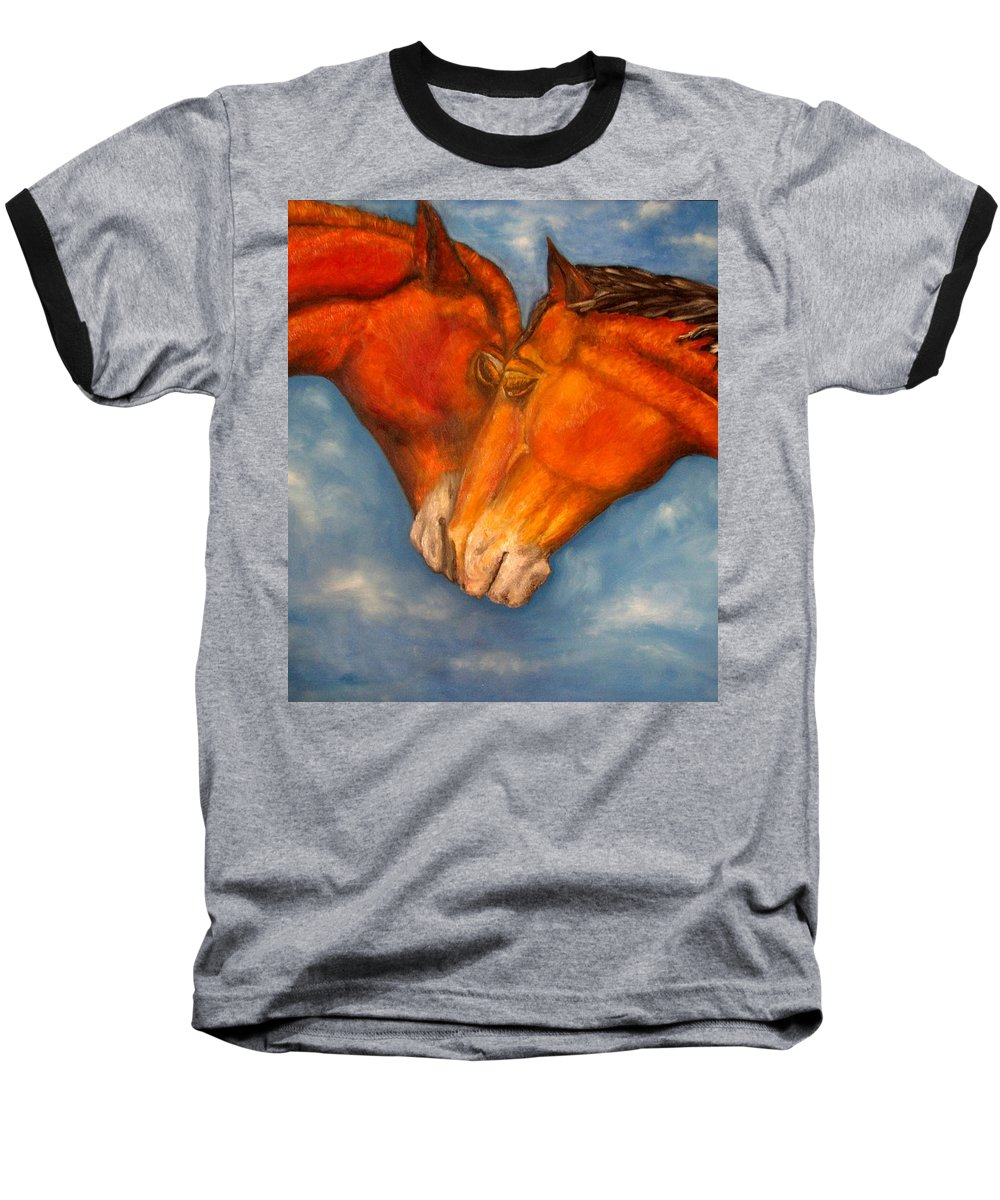 Horses Baseball T-Shirt featuring the painting Horses In Love.oil Painting by Natalja Picugina