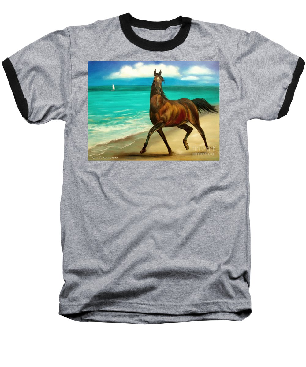 Horse Baseball T-Shirt featuring the painting Horses In Paradise Dance by Gina De Gorna