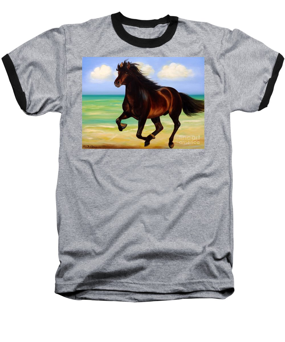 Horses Baseball T-Shirt featuring the painting Horses In Paradise Run by Gina De Gorna