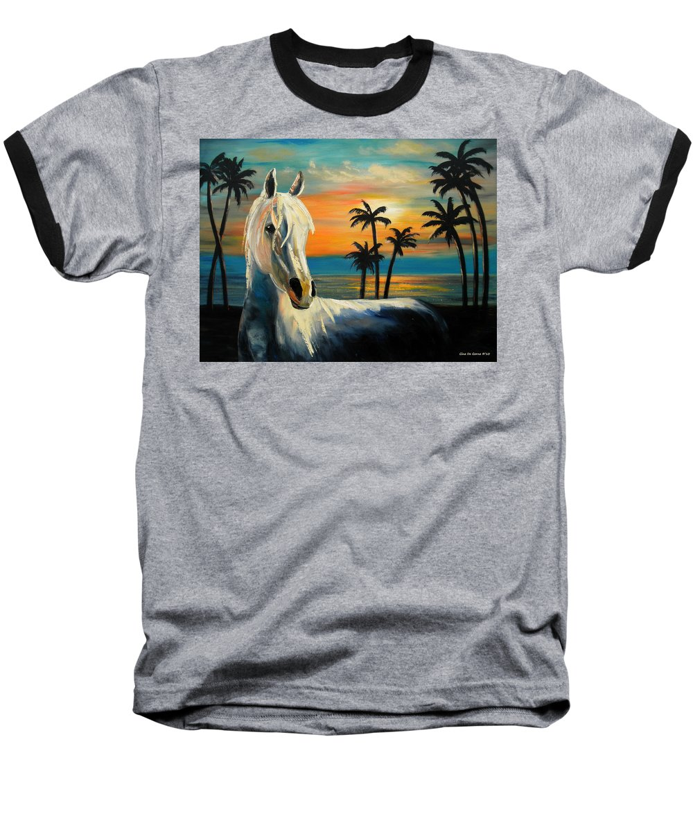 Horse Baseball T-Shirt featuring the painting Horses In Paradise Tell Me Your Dream by Gina De Gorna