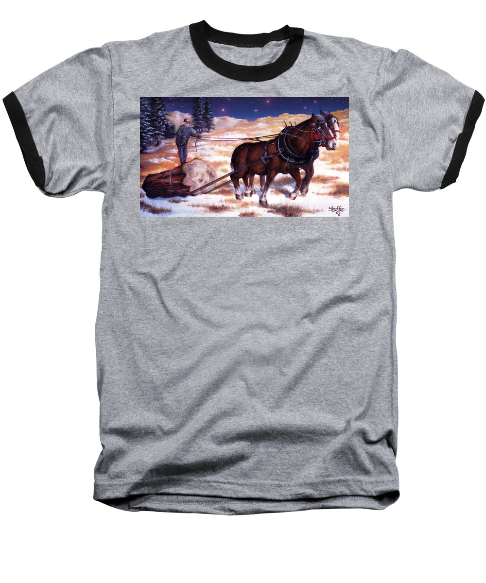 Horse Baseball T-Shirt featuring the painting Horses Pulling Log by Curtiss Shaffer
