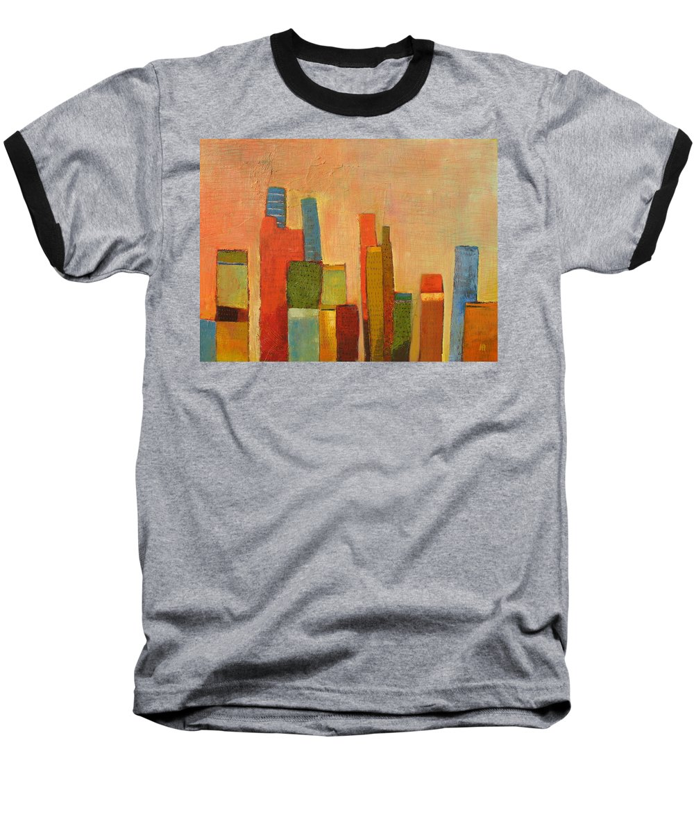 Abstract Cityscape Baseball T-Shirt featuring the painting Hot Manhattan by Habib Ayat