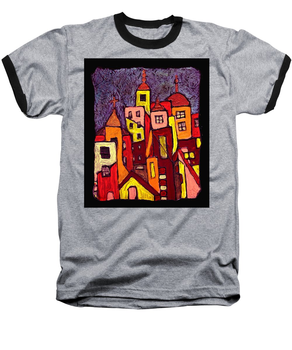 City Scapes Baseball T-Shirt featuring the painting Hot Night In The City by Wayne Potrafka