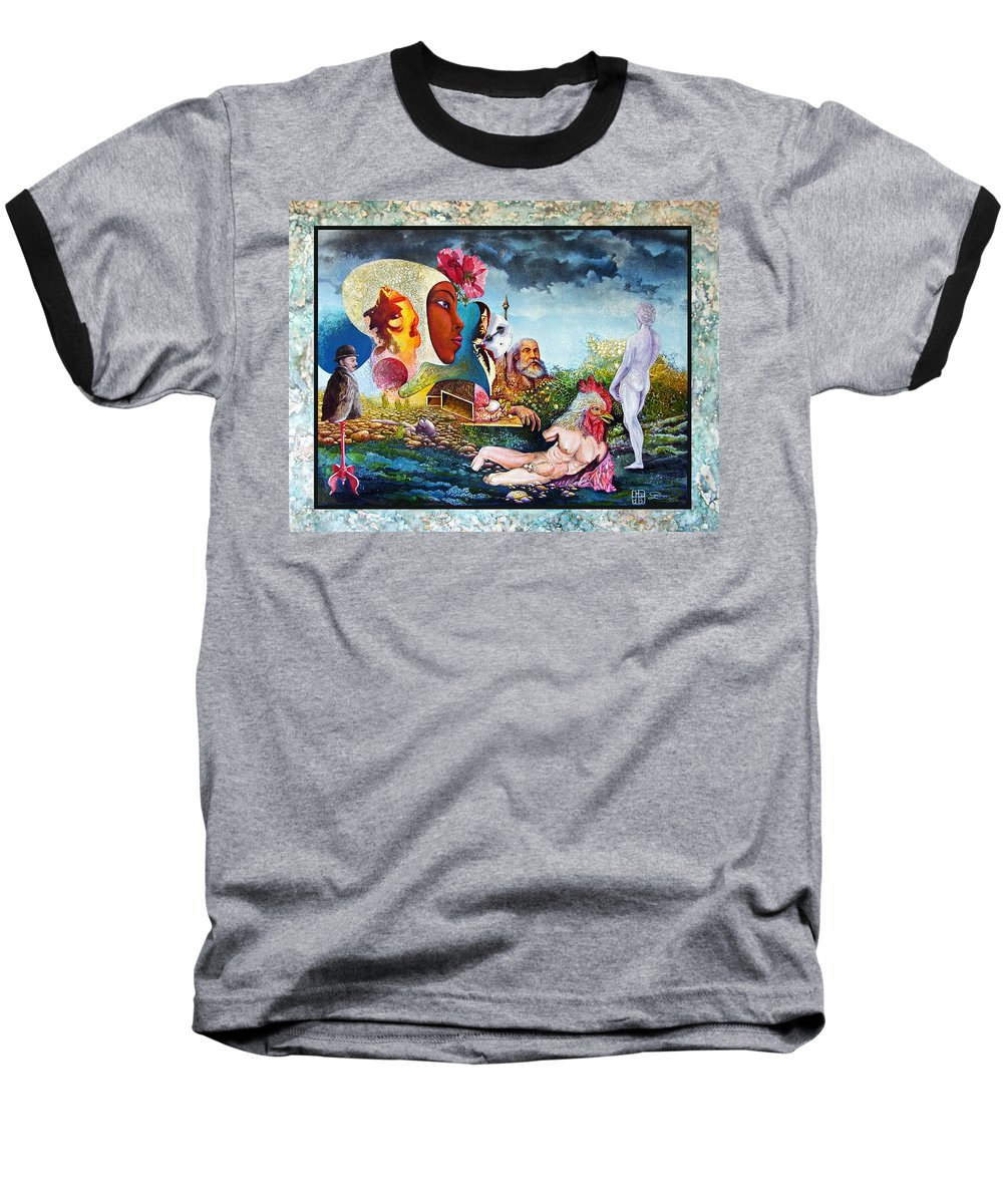Surrealism Baseball T-Shirt featuring the mixed media Hour Of The Cock by Otto Rapp