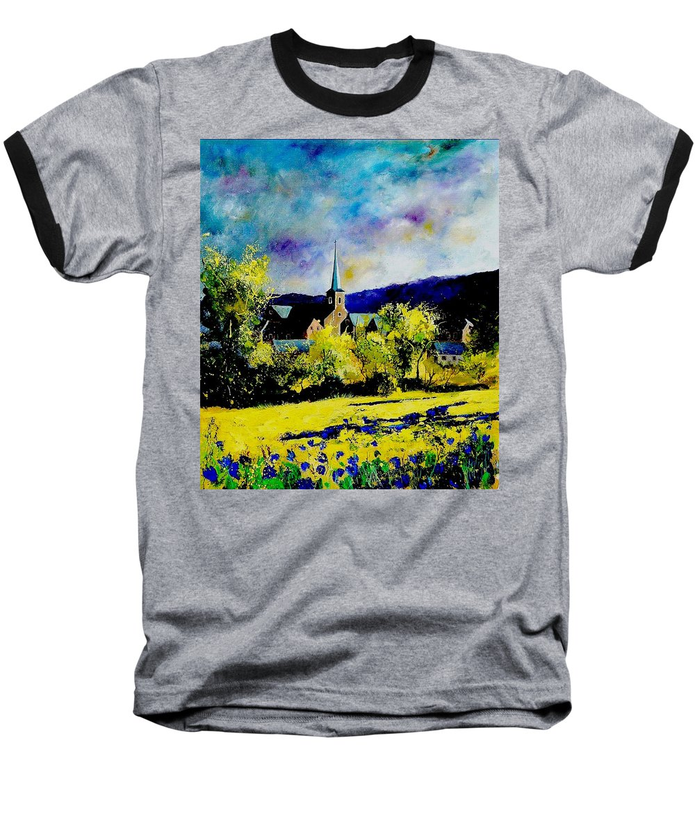 Poppies Baseball T-Shirt featuring the painting Hour Village Belgium by Pol Ledent
