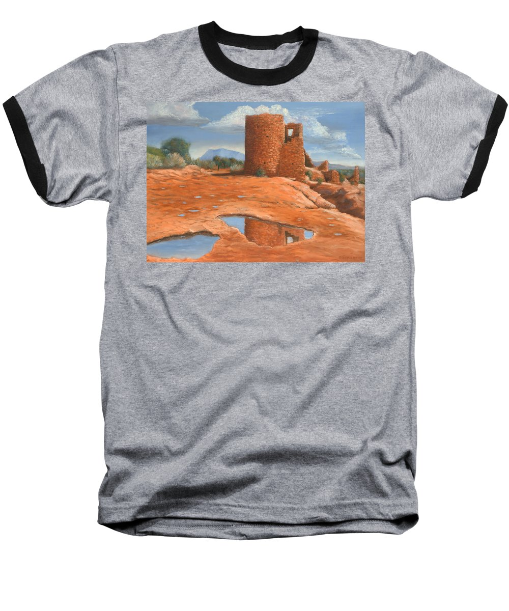 Anasazi Baseball T-Shirt featuring the painting Hovenweep Reflection by Jerry McElroy