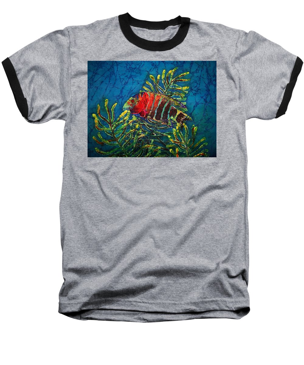 Fish Baseball T-Shirt featuring the painting Hovering - Red Banded Wrasse by Sue Duda