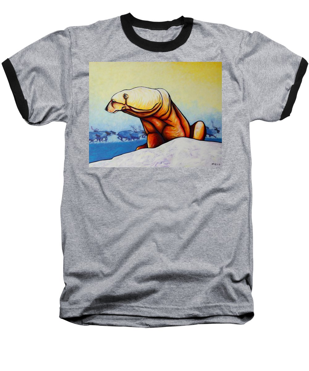 Wildlife Baseball T-Shirt featuring the painting Hunger Burns - Polar Bear And Caribou by Joe Triano