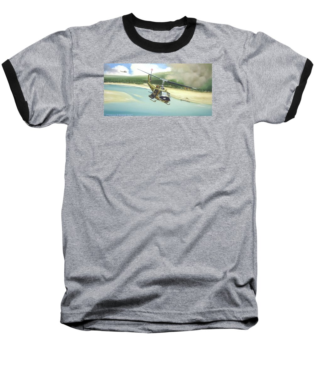 Military Baseball T-Shirt featuring the painting Hunter Hueys by Marc Stewart