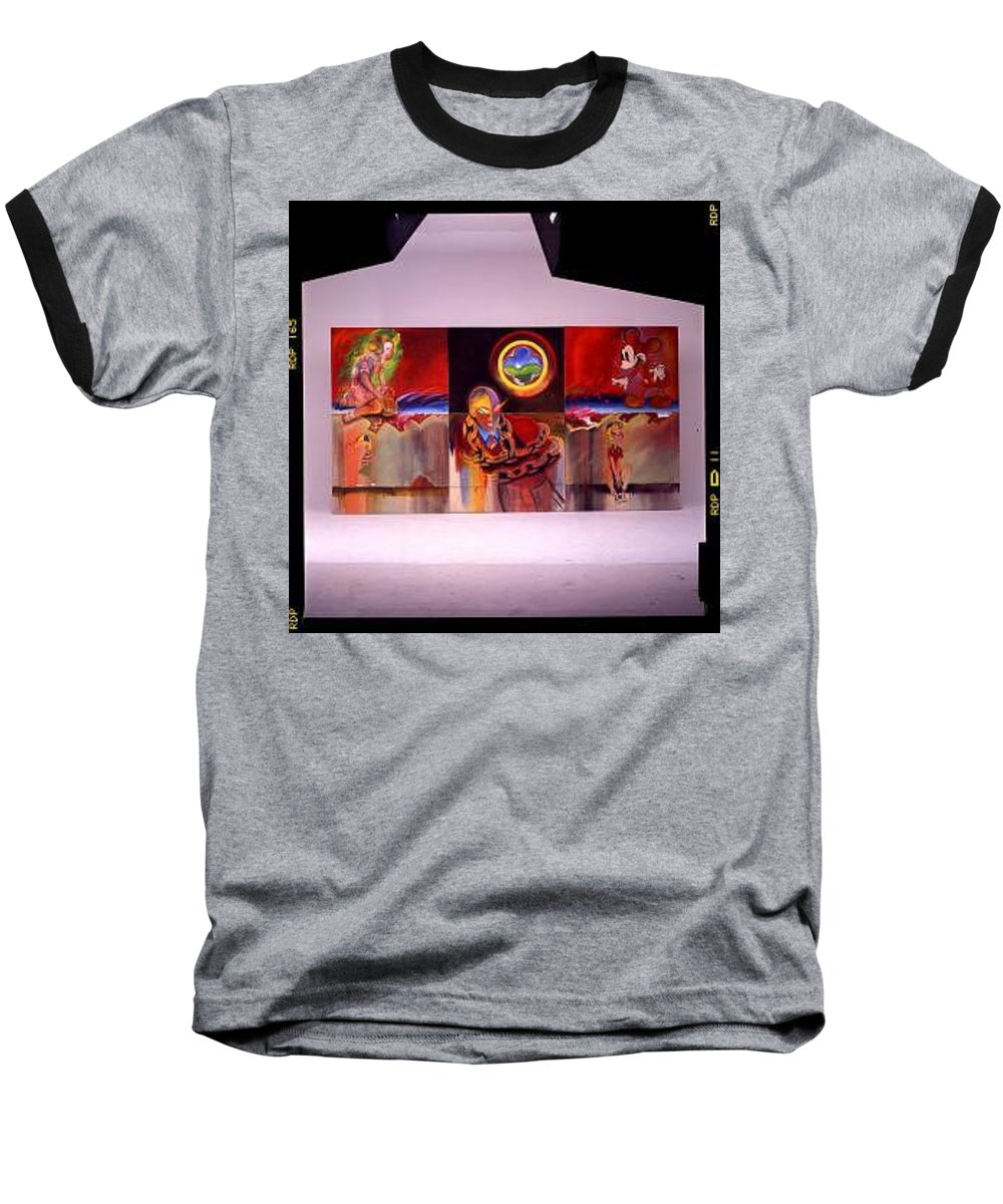 Spiderman Baseball T-Shirt featuring the painting I Saw The Figure Five In Gold by Charles Stuart