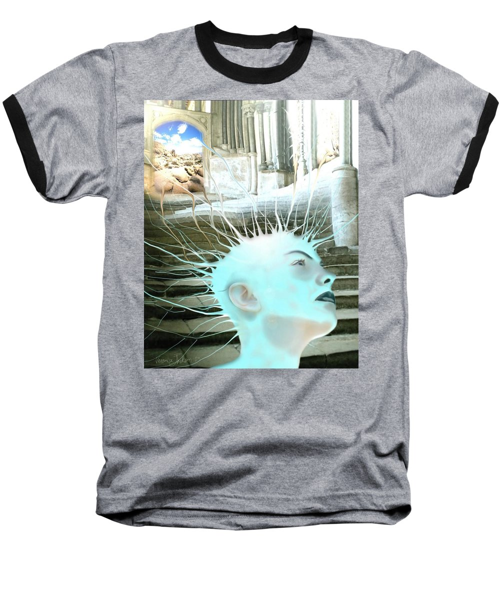 Thoughts Stairs Energy Space Baseball T-Shirt featuring the digital art I by Veronica Jackson