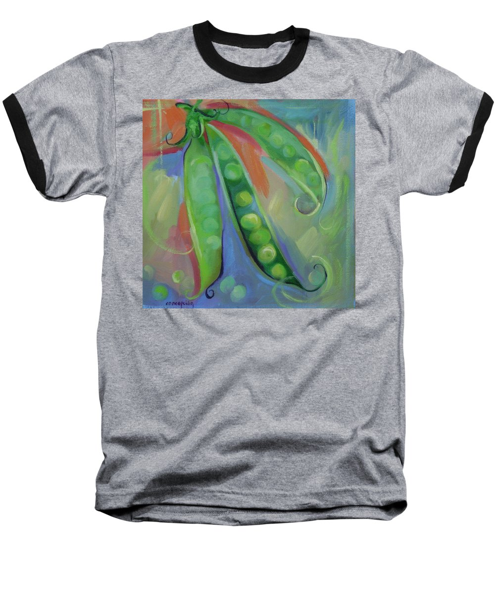 Peas Baseball T-Shirt featuring the painting I Wish You Peas by Ginger Concepcion