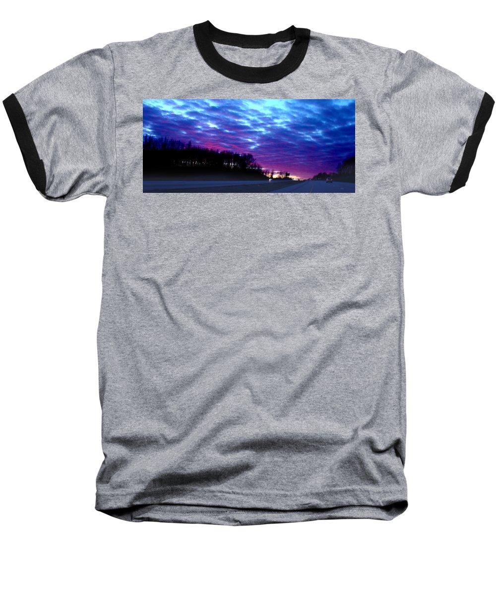Landscape Baseball T-Shirt featuring the photograph I70 West Ohio by Steve Karol