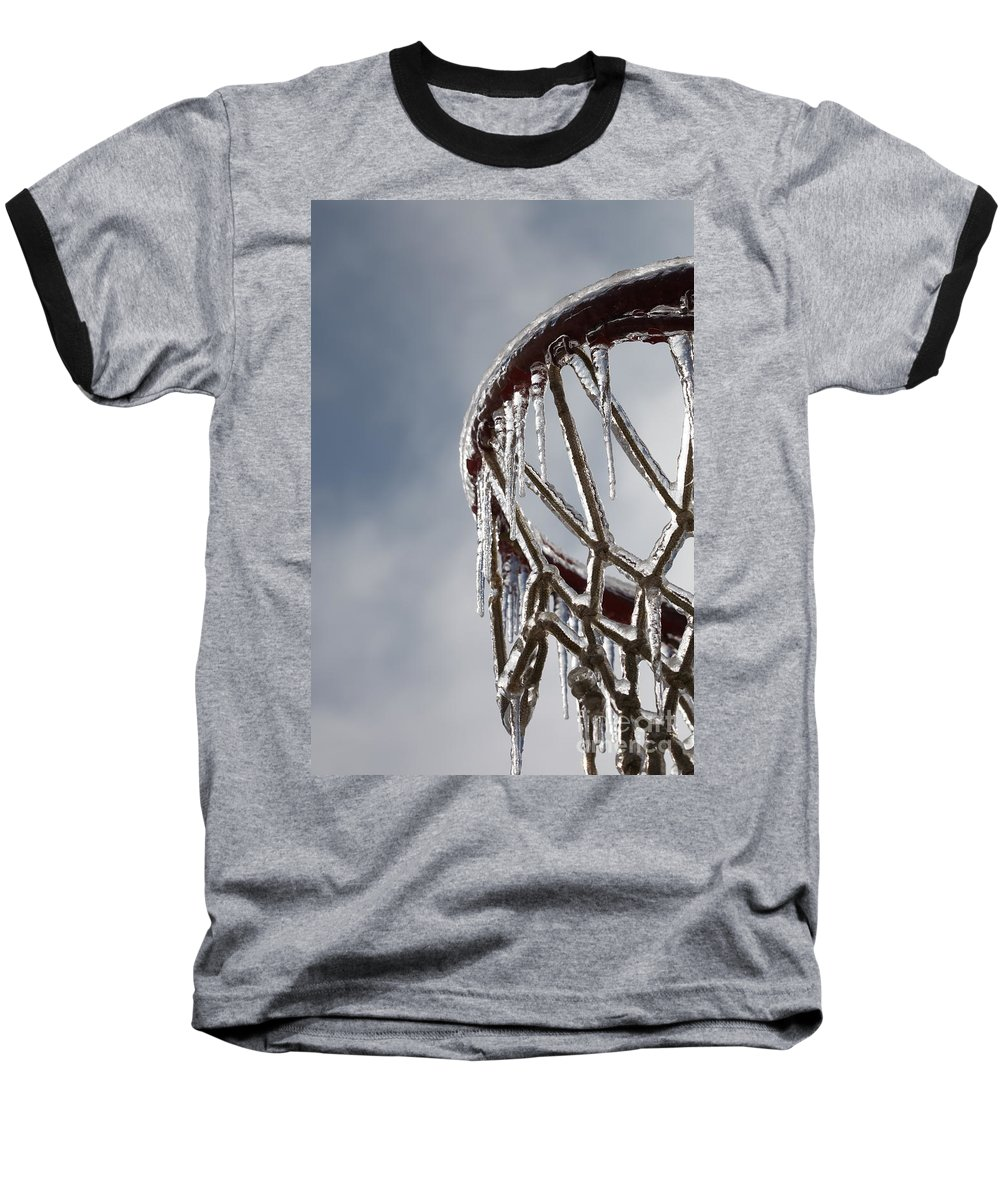 Basketball Baseball T-Shirt featuring the photograph Icy Hoops by Nadine Rippelmeyer