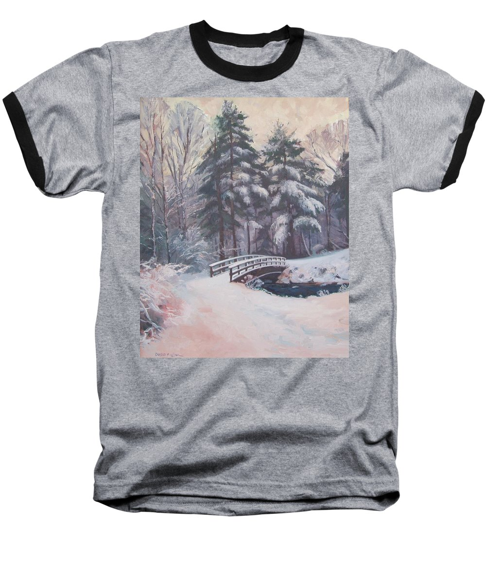 Landscape Baseball T-Shirt featuring the painting Icy Stream by Dianne Panarelli Miller
