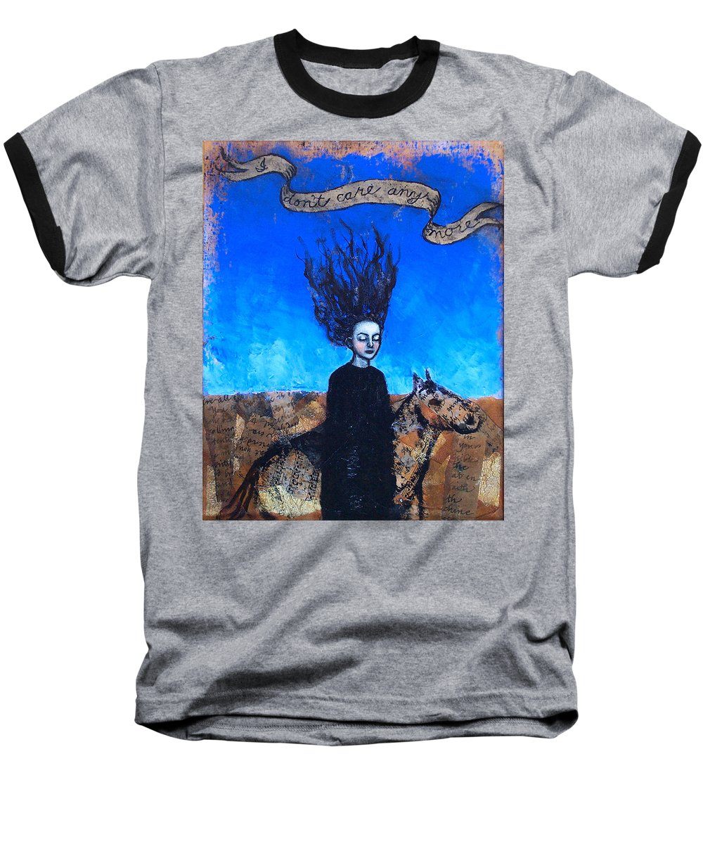 Baseball T-Shirt featuring the painting Idontcareanymore by Pauline Lim