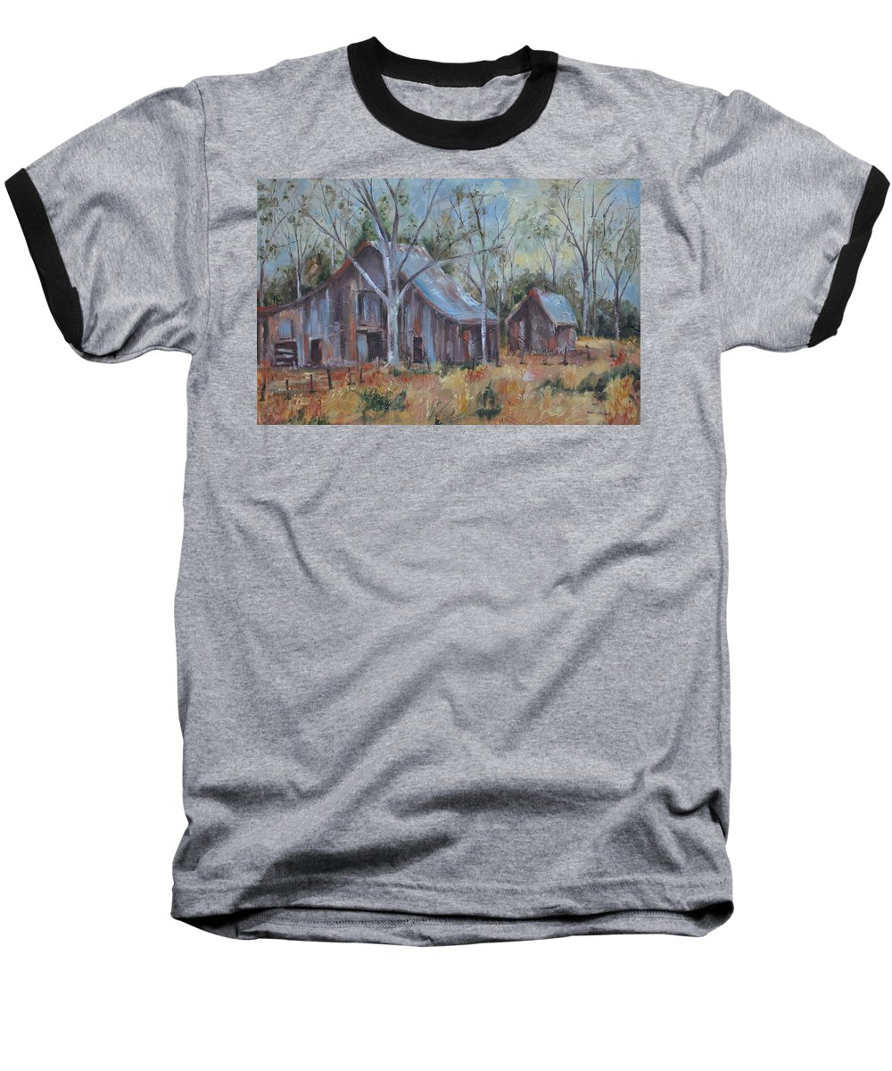 Barns Baseball T-Shirt featuring the painting If They Could Speak by Ginger Concepcion