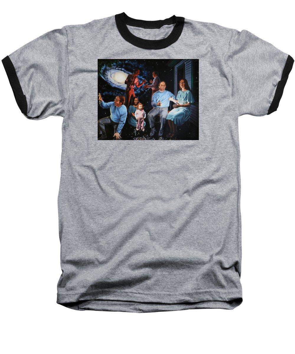 Surreal Baseball T-Shirt featuring the painting Illumination Beyond Ursa Major by Dave Martsolf