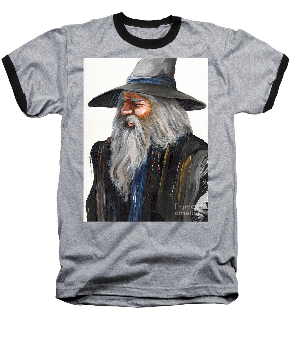 Fantasy Art Baseball T-Shirt featuring the painting Impressionist Wizard by J W Baker