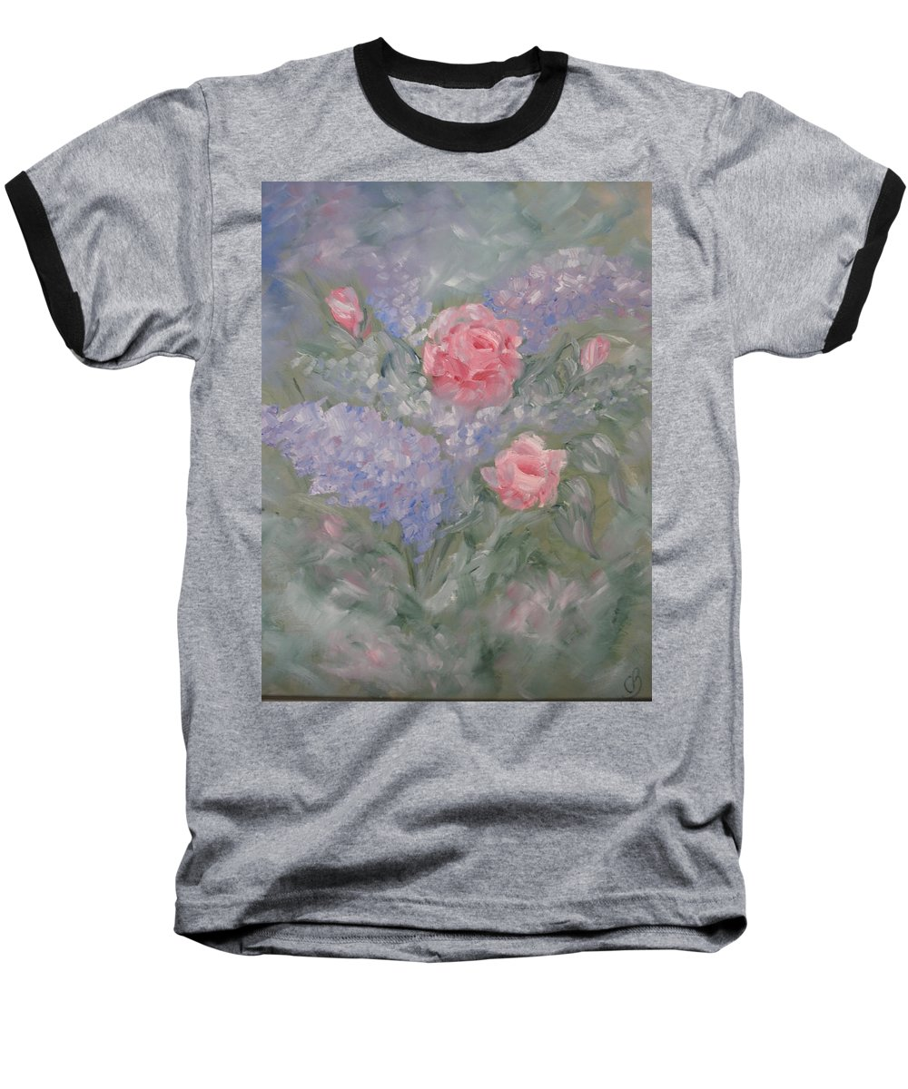 Flowers Baseball T-Shirt featuring the painting In Bloom by Carrie Mayotte