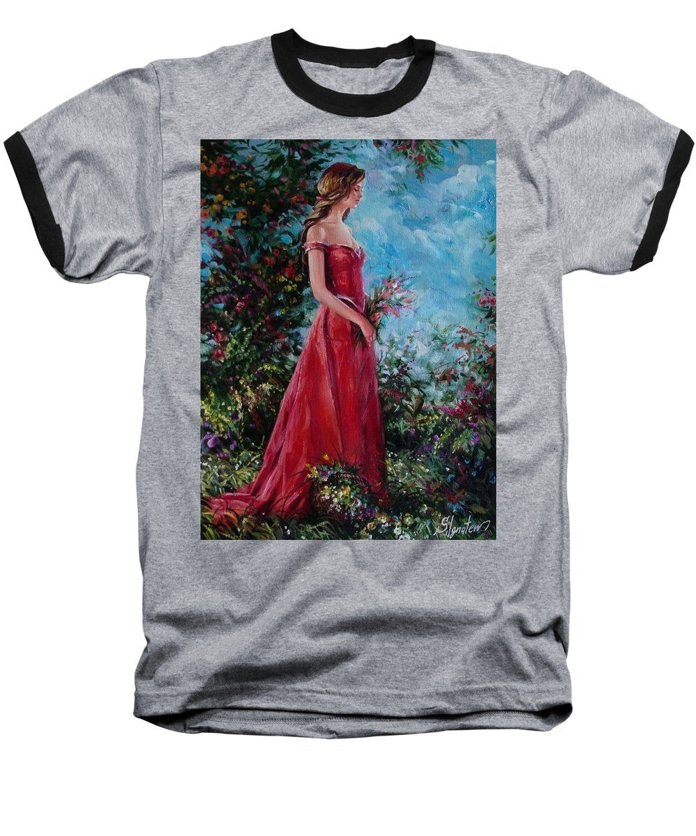 Figurative Baseball T-Shirt featuring the painting In Summer Garden by Sergey Ignatenko