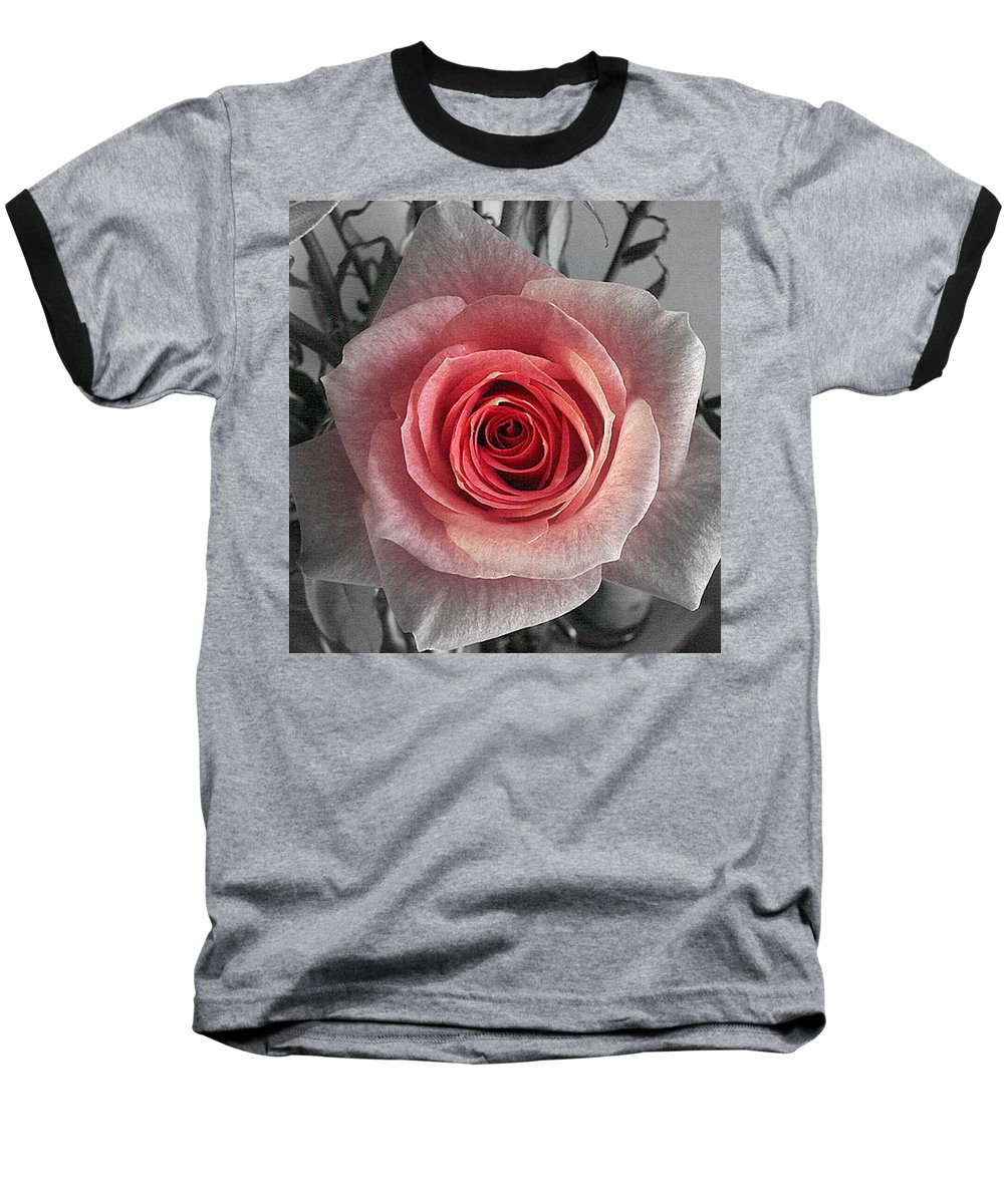 Rose Red Blackandwhite Baseball T-Shirt featuring the photograph In The Center by Luciana Seymour