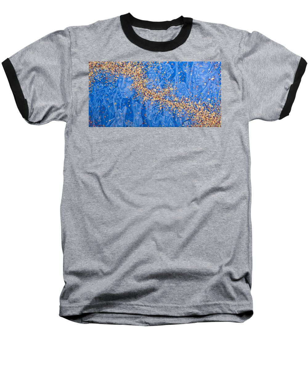 Waterfall Baseball T-Shirt featuring the painting In The Falls by Judy Henninger