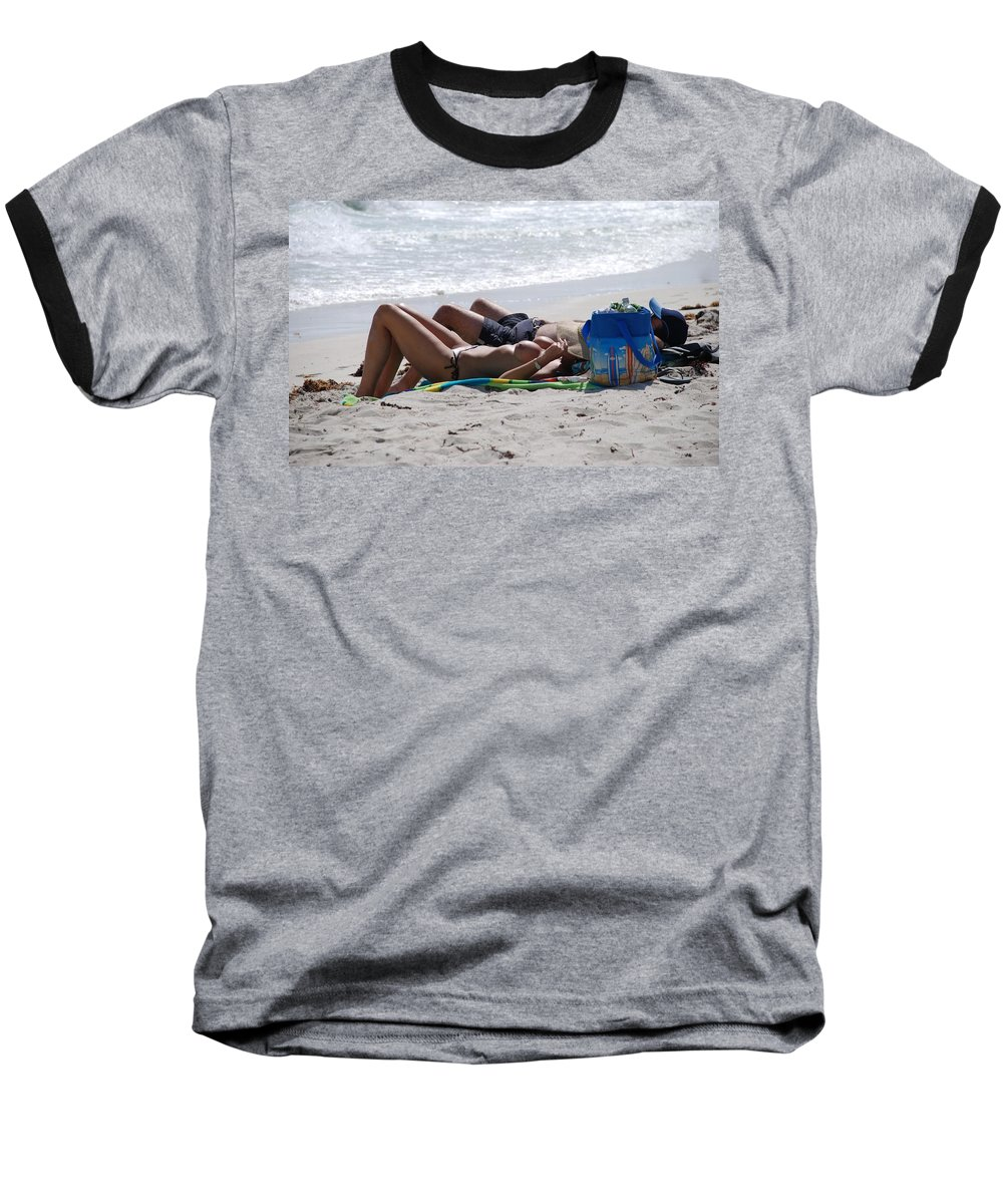 Nude Baseball T-Shirt featuring the photograph In The Sand At Paradise Beach by Rob Hans