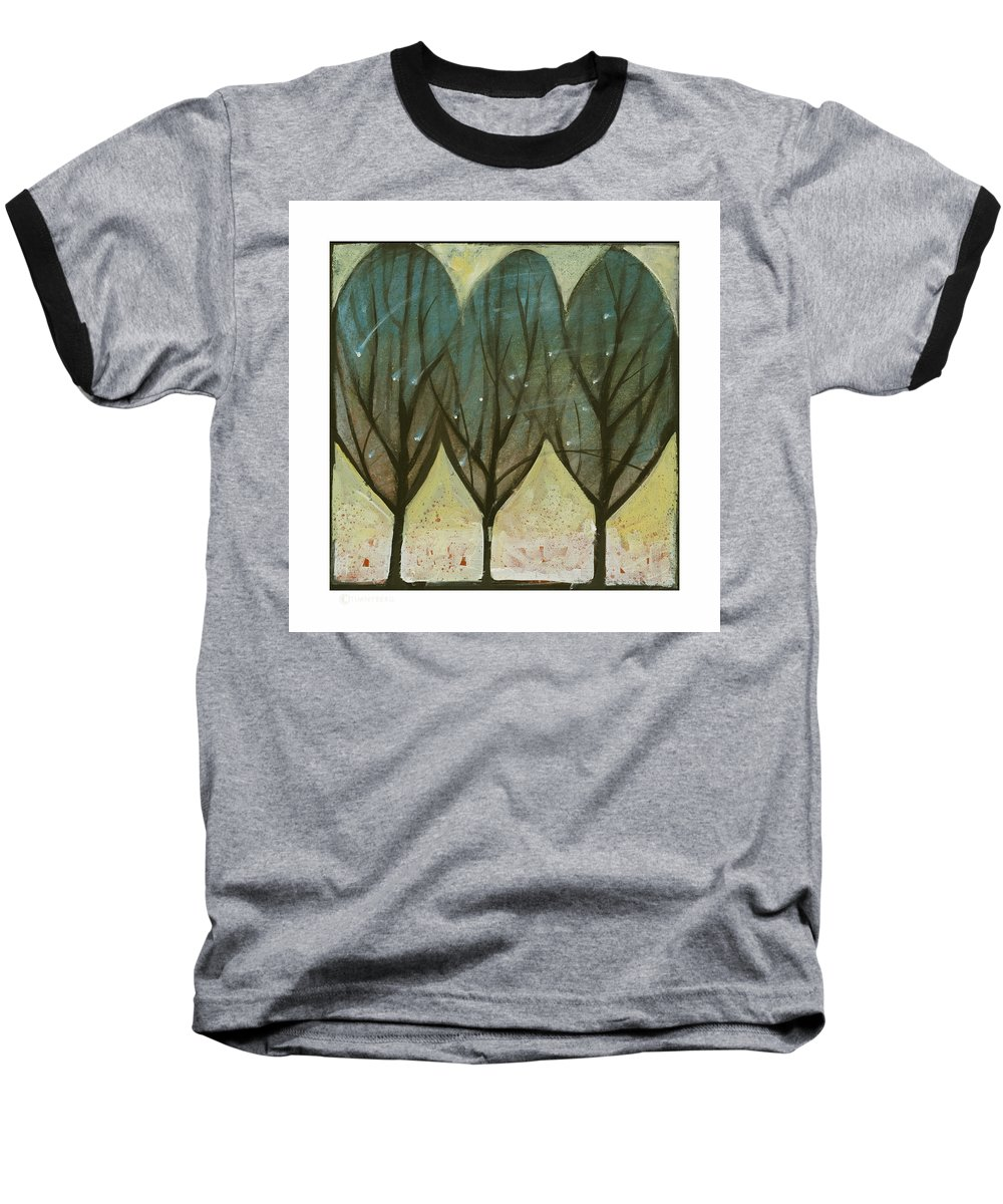 Trees Baseball T-Shirt featuring the painting Indian Summer Snow by Tim Nyberg
