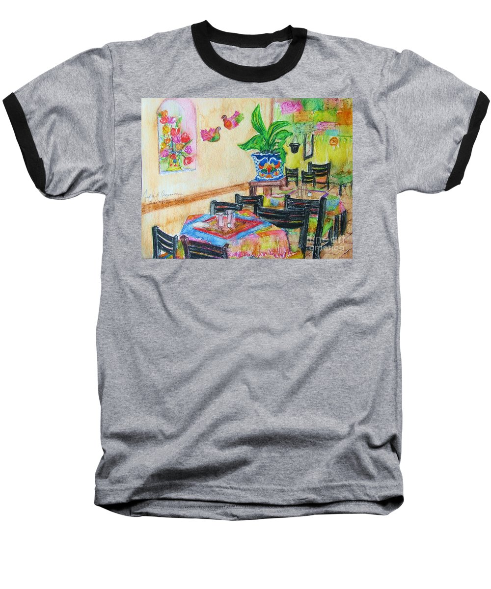 Watercolor Baseball T-Shirt featuring the painting Indoor Cafe - Gifted by Judith Espinoza