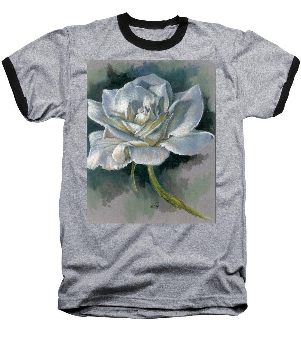 Rose Baseball T-Shirt featuring the mixed media Innocence by Barbara Keith