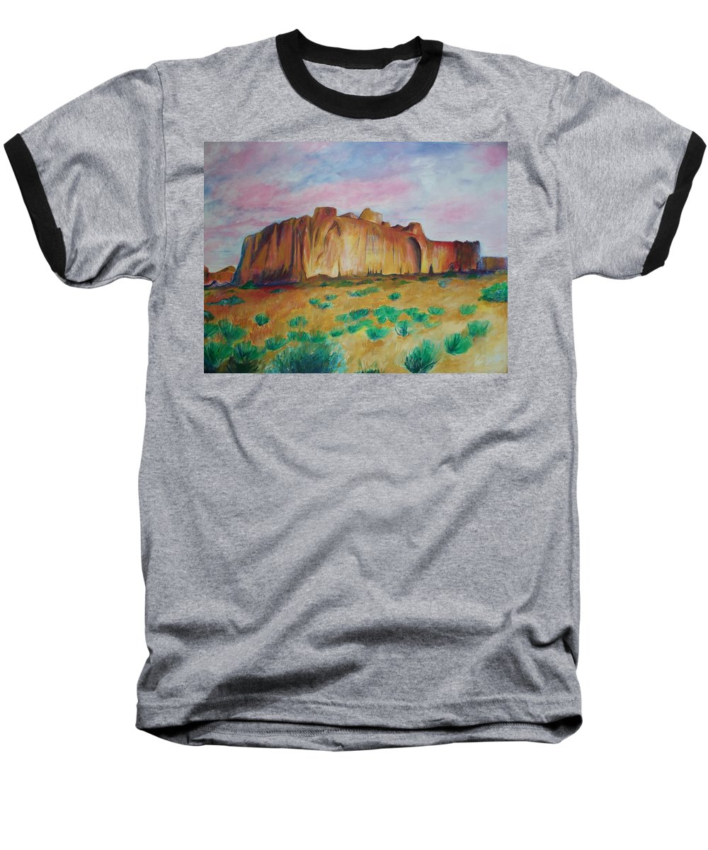 Western Landscapes Baseball T-Shirt featuring the painting Inscription Rock by Eric Schiabor