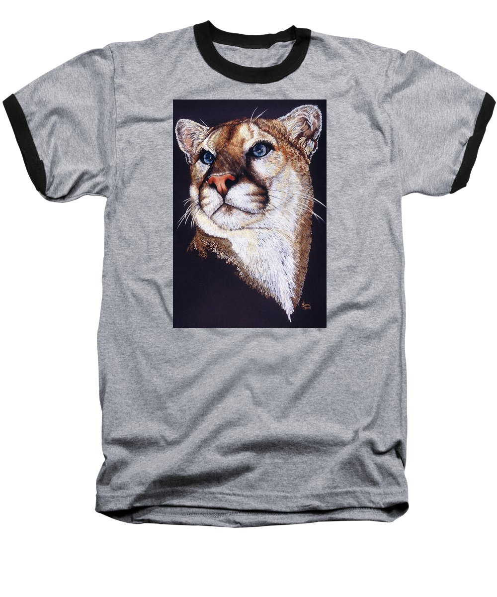Cougar Baseball T-Shirt featuring the drawing Intense by Barbara Keith