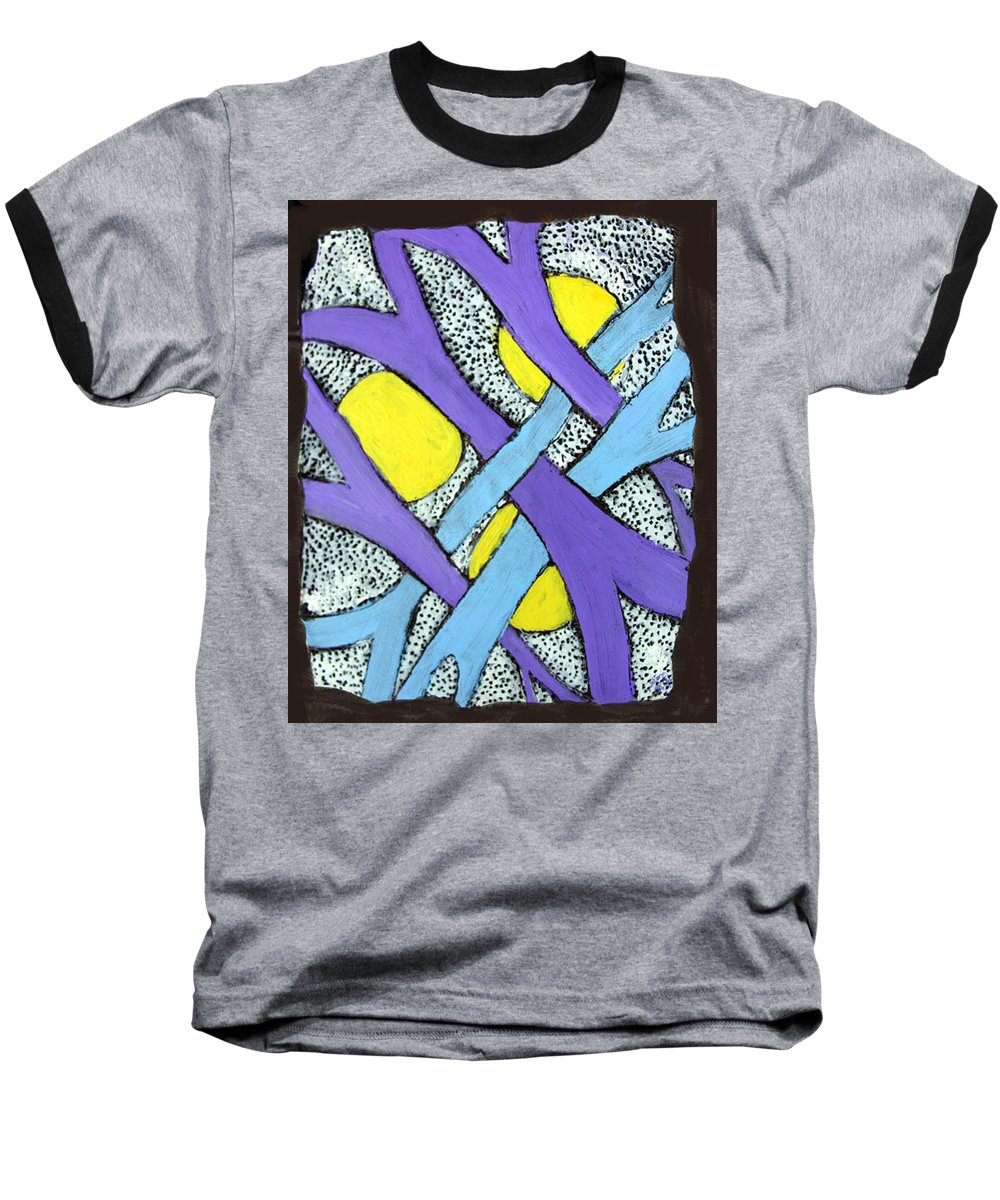 Abstract Baseball T-Shirt featuring the painting Intertwined by Wayne Potrafka