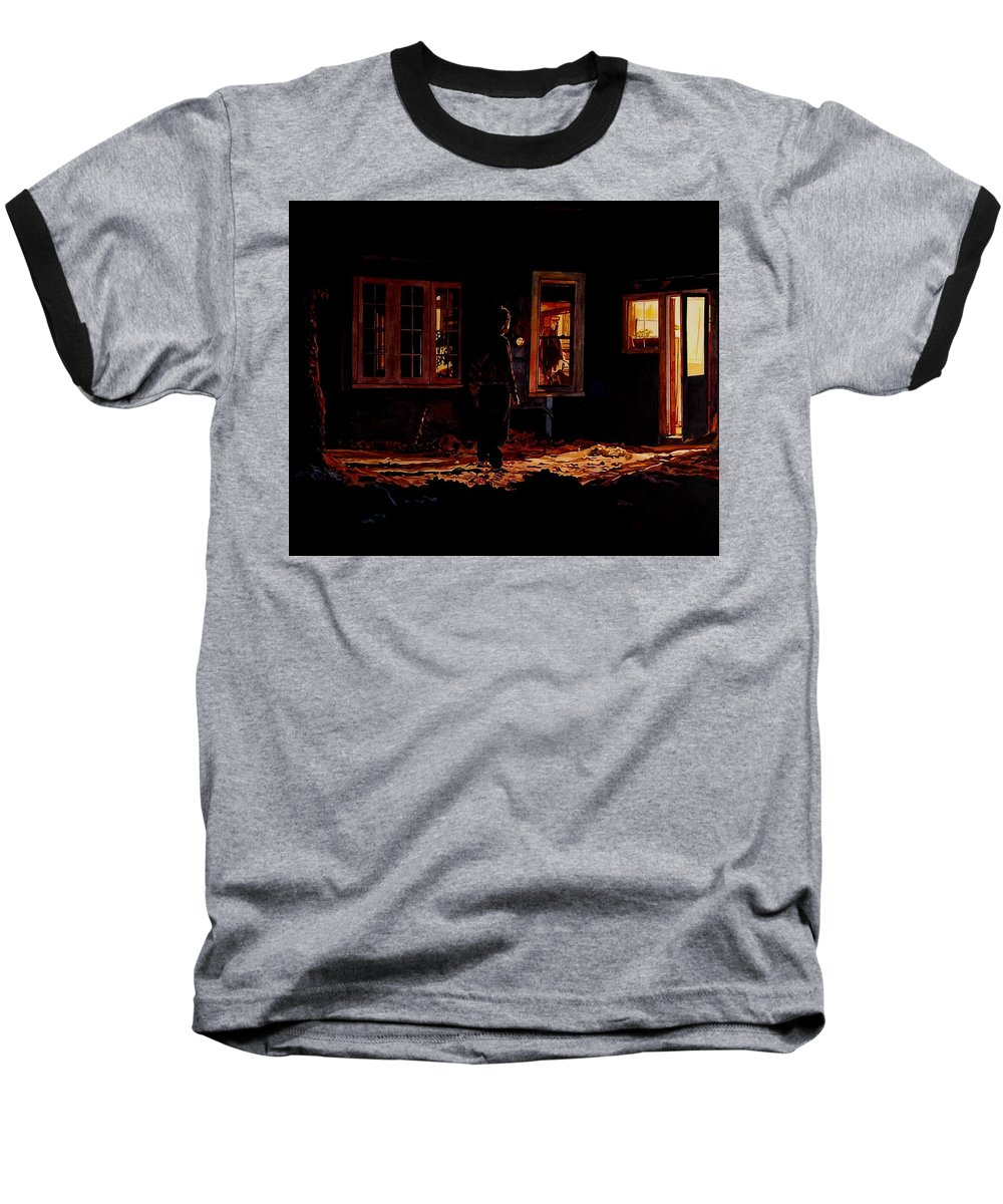 Night Baseball T-Shirt featuring the painting Into The Night by Valerie Patterson