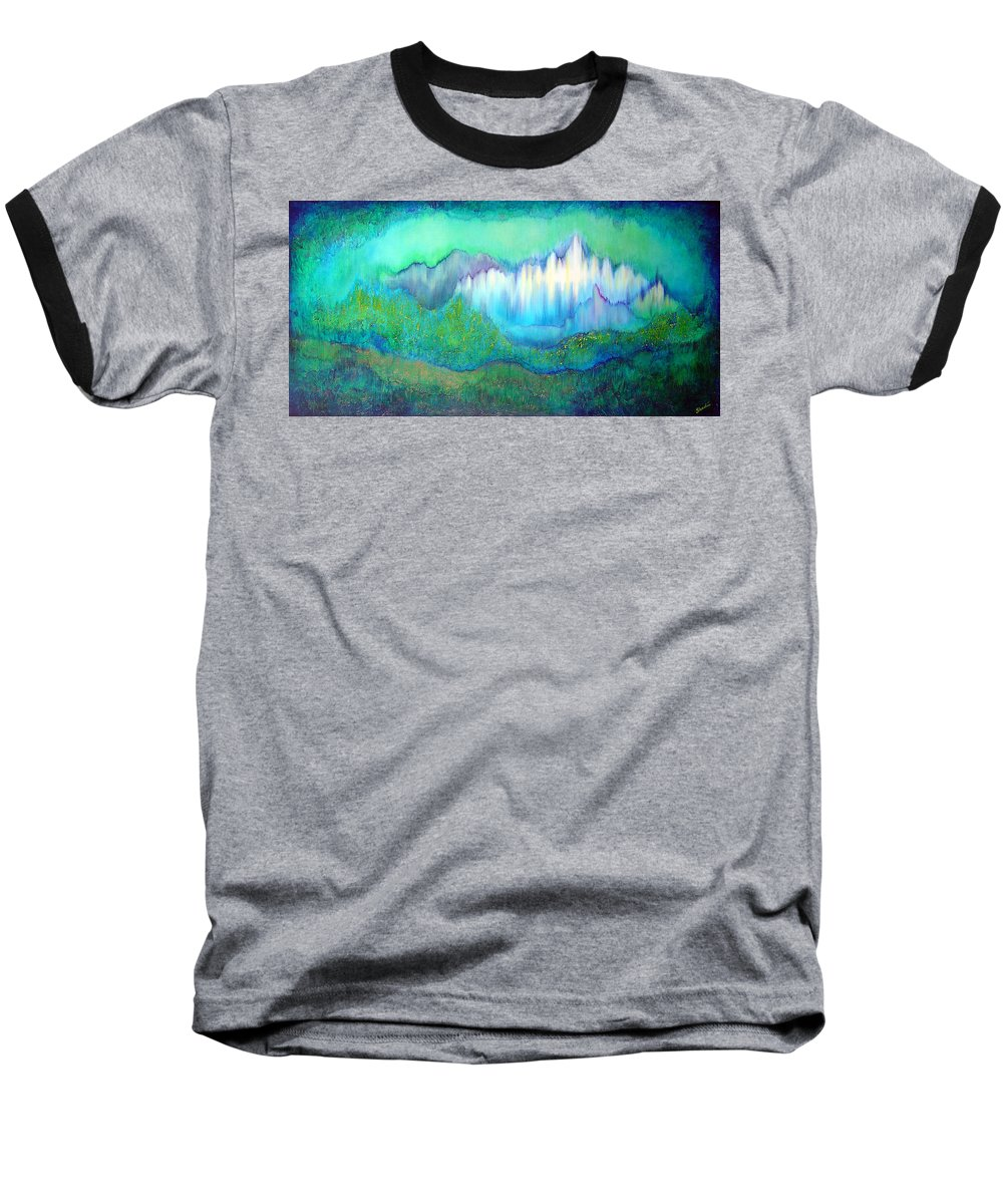 Blue Baseball T-Shirt featuring the painting Into The Ocean by Shadia Derbyshire