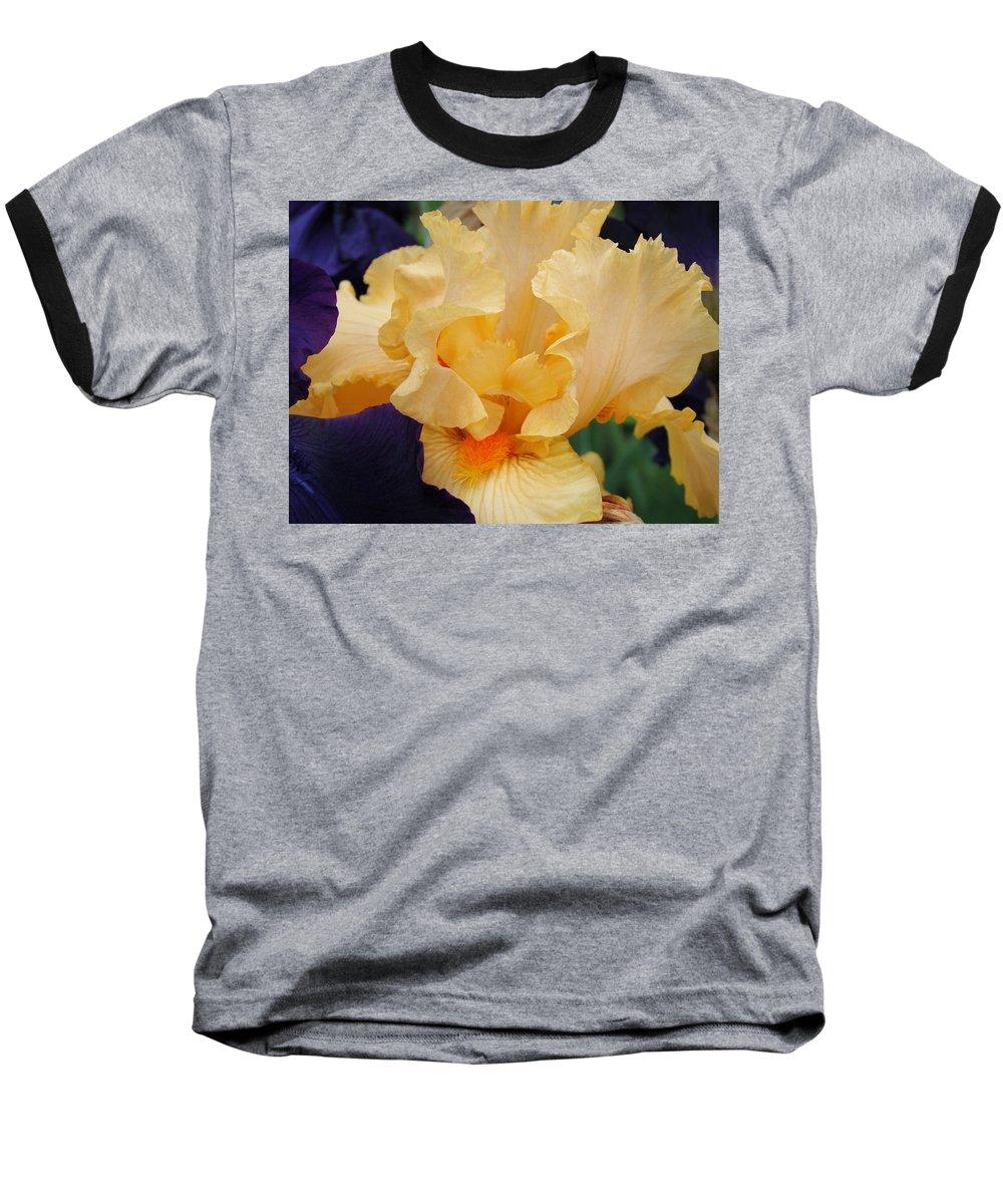 �irises Artwork� Baseball T-Shirt featuring the photograph Irises Art Prints Peach Iris Flowers Artwork Floral Botanical Art Baslee Troutman by Baslee Troutman