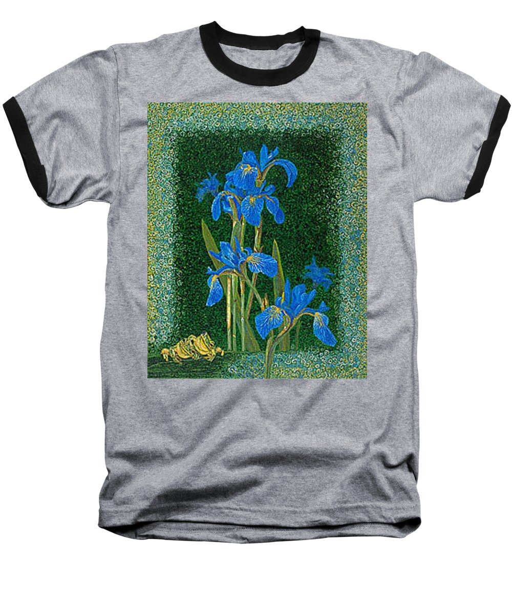 Irises Baseball T-Shirt featuring the painting Irises Blue Flowers Lucky Love Frog Friends Fine Art Print Giclee High Quality Exceptional Colors by Baslee Troutman