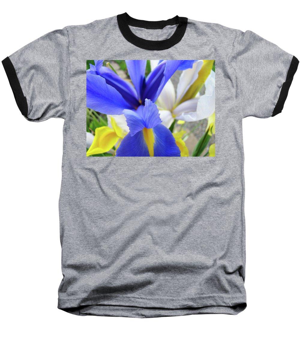 �irises Artwork� Baseball T-Shirt featuring the photograph Irises Flowers Artwork Blue Purple Iris Flowers 1 Botanical Floral Garden Baslee Troutman by Baslee Troutman