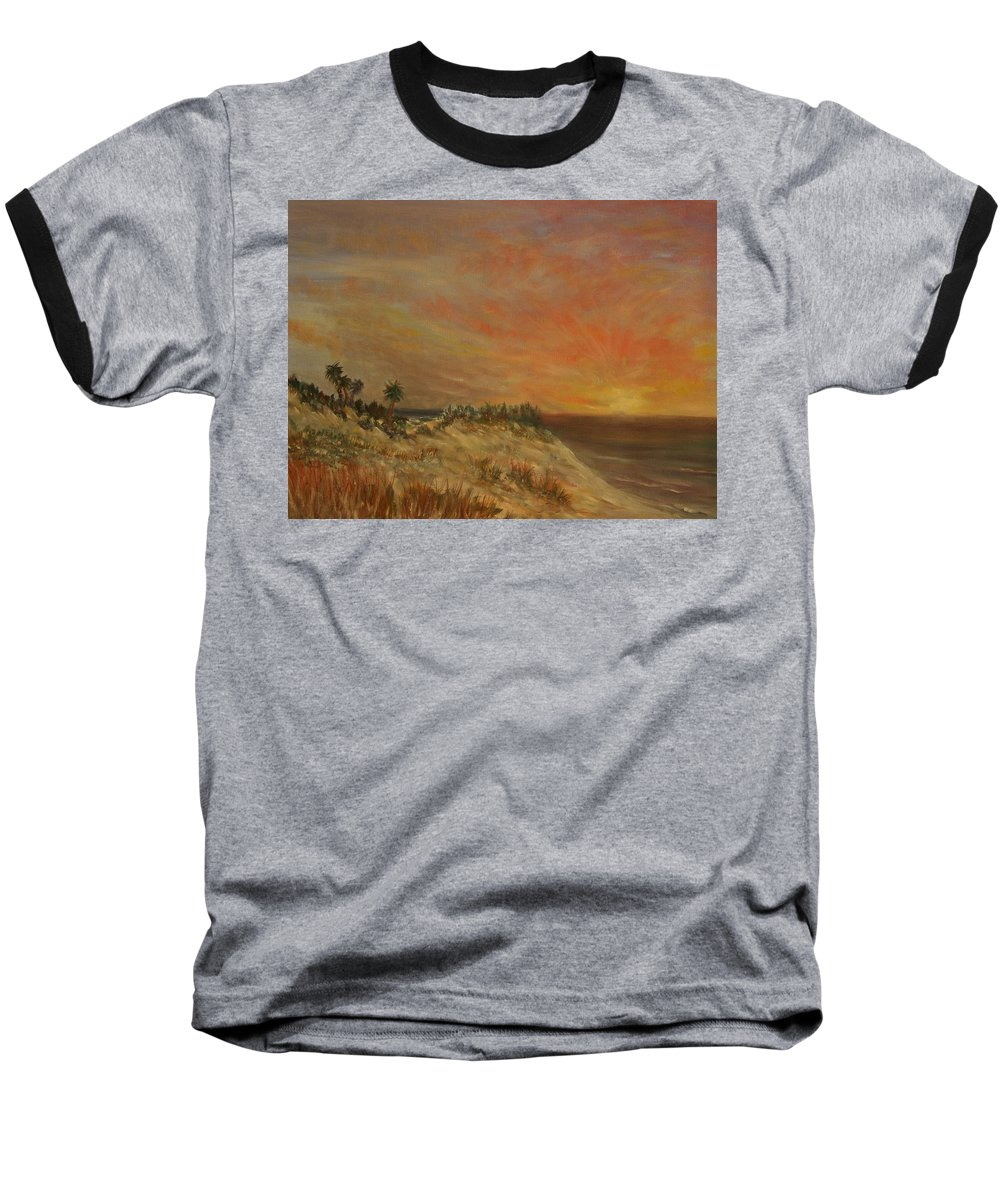 Sunset;beach;ocean;palm Trees Baseball T-Shirt featuring the painting Island Sunset by Ben Kiger