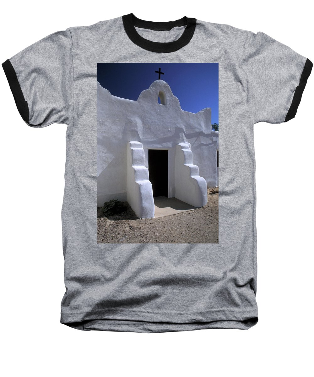 Adobe Baseball T-Shirt featuring the photograph Isleta by Jerry McElroy