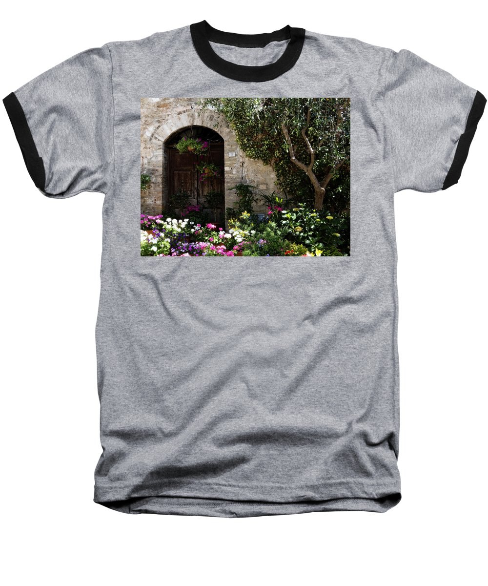 Flower Baseball T-Shirt featuring the photograph Italian Front Door Adorned With Flowers by Marilyn Hunt