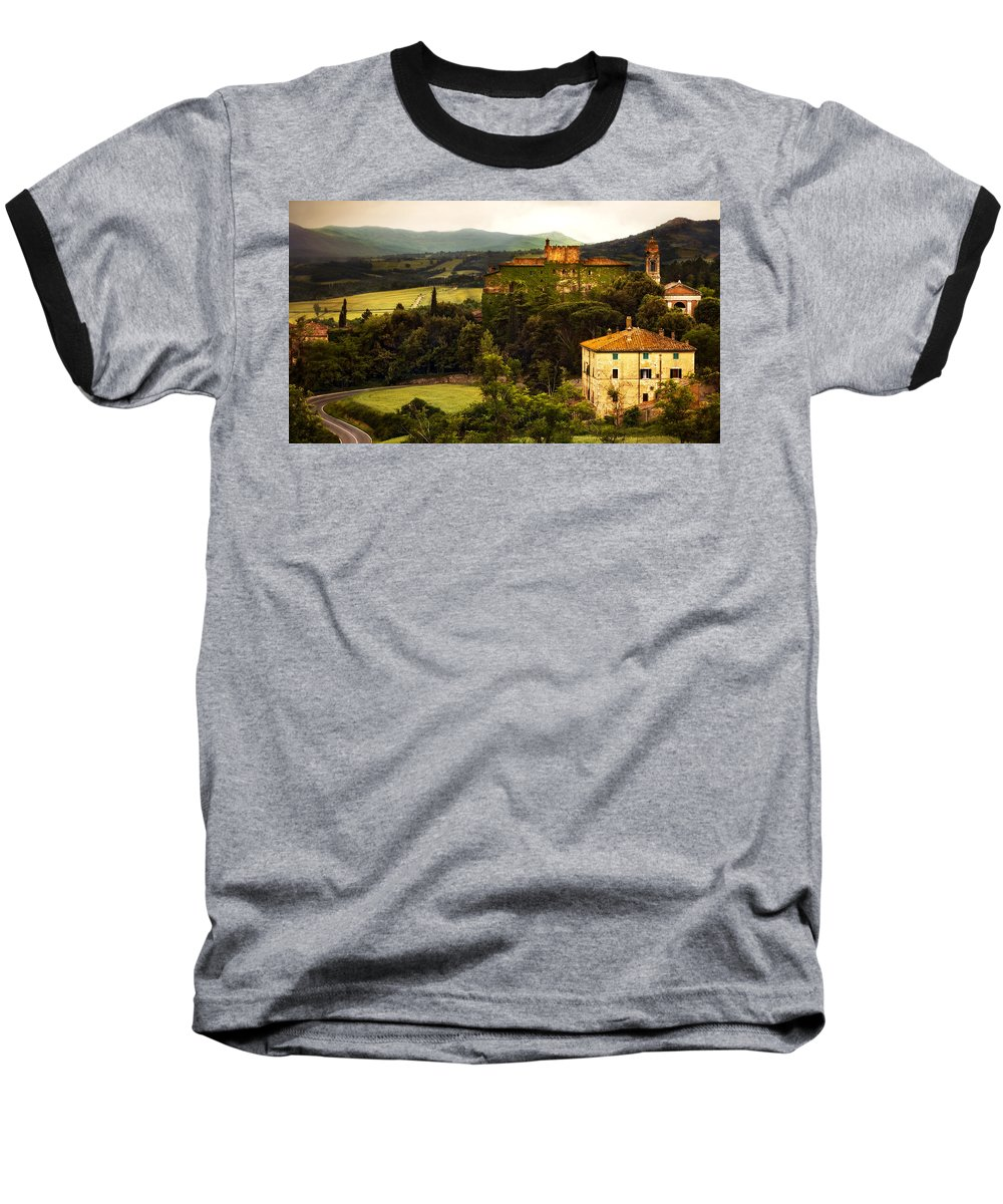 Italy Baseball T-Shirt featuring the photograph Italian Castle And Landscape by Marilyn Hunt