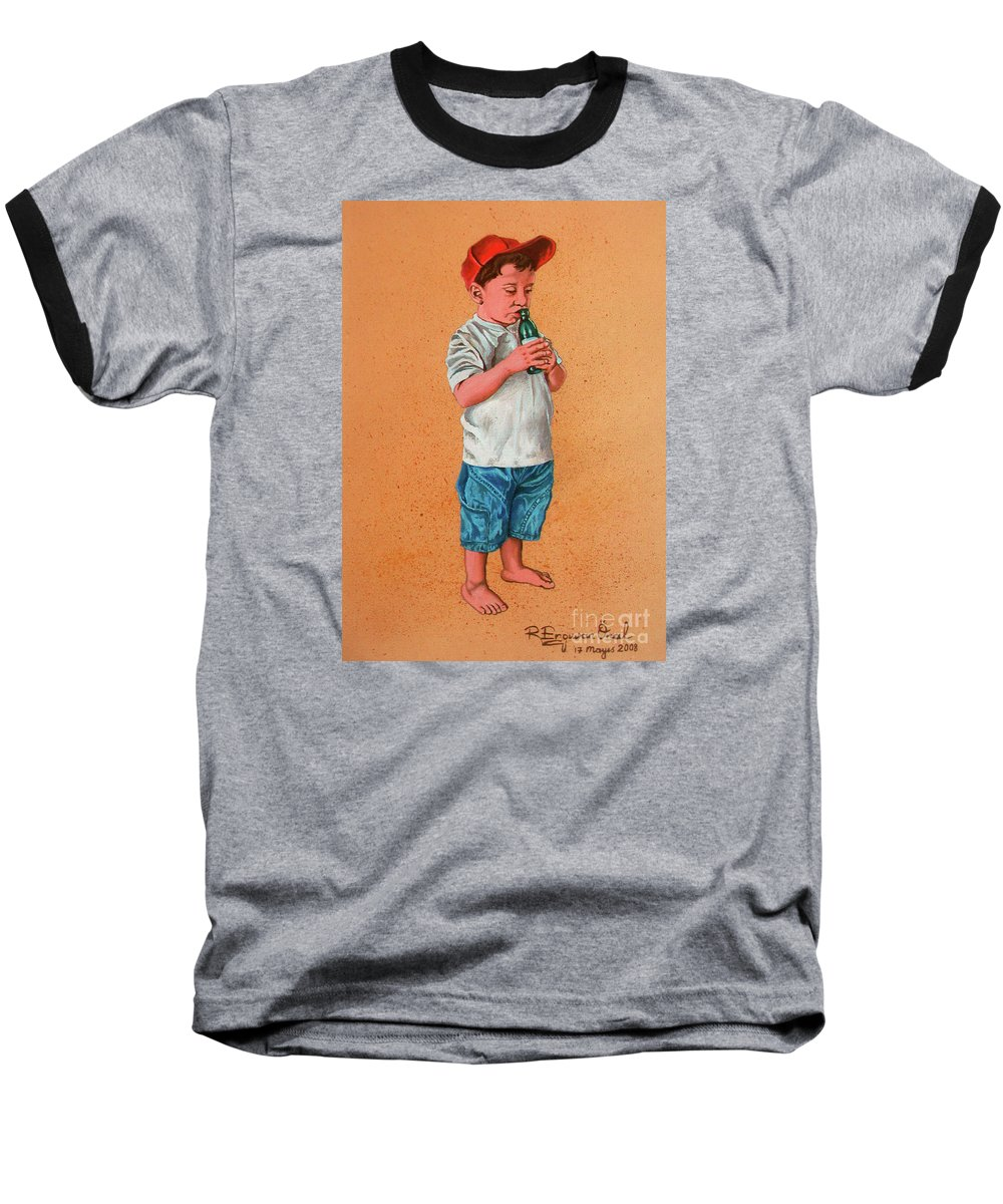 Summer Baseball T-Shirt featuring the painting It's A Hot Day - Es Un Dia Caliente by Rezzan Erguvan-Onal