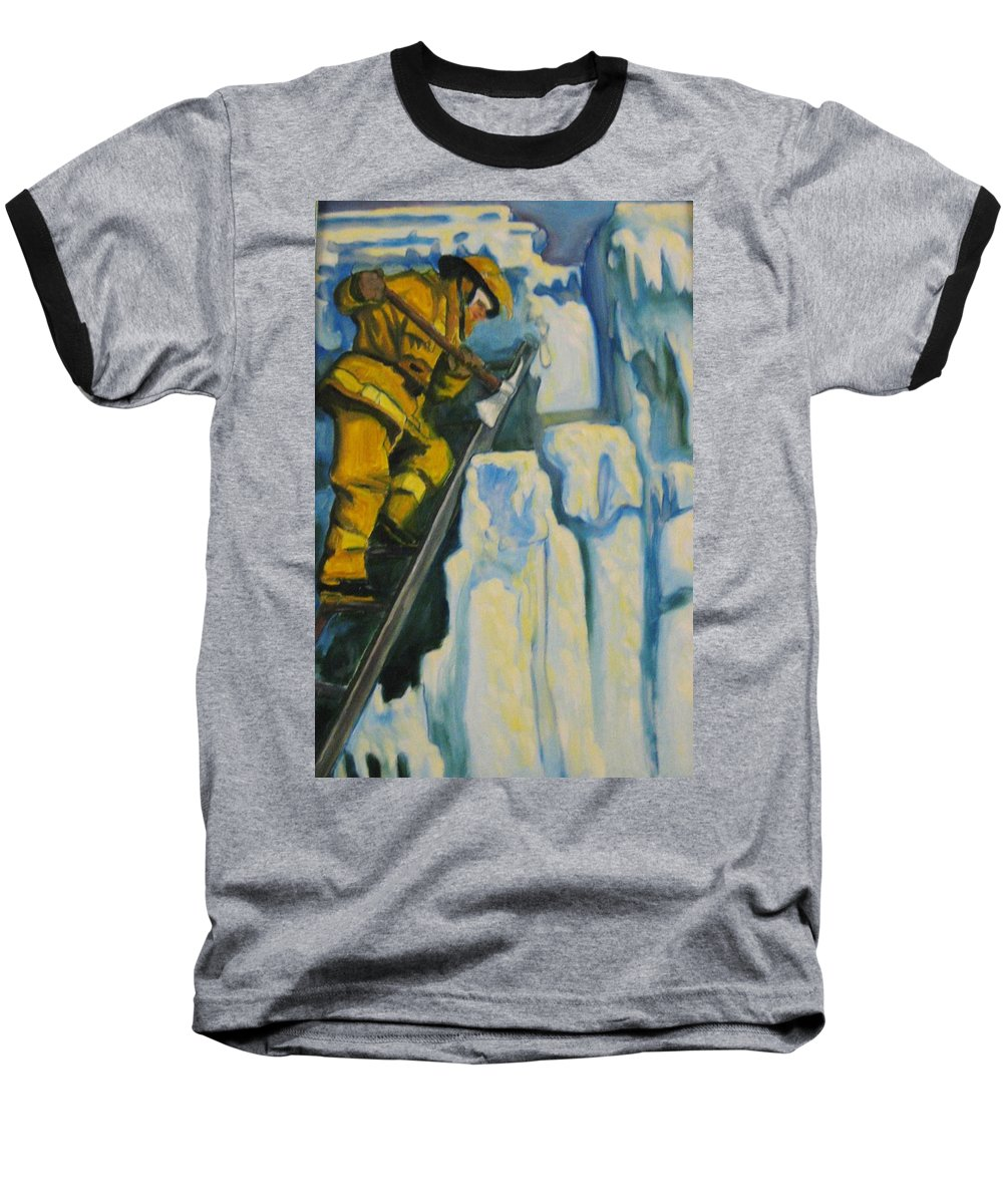 Firefighters Baseball T-Shirt featuring the painting Its Not Over Till Its Over by John Malone