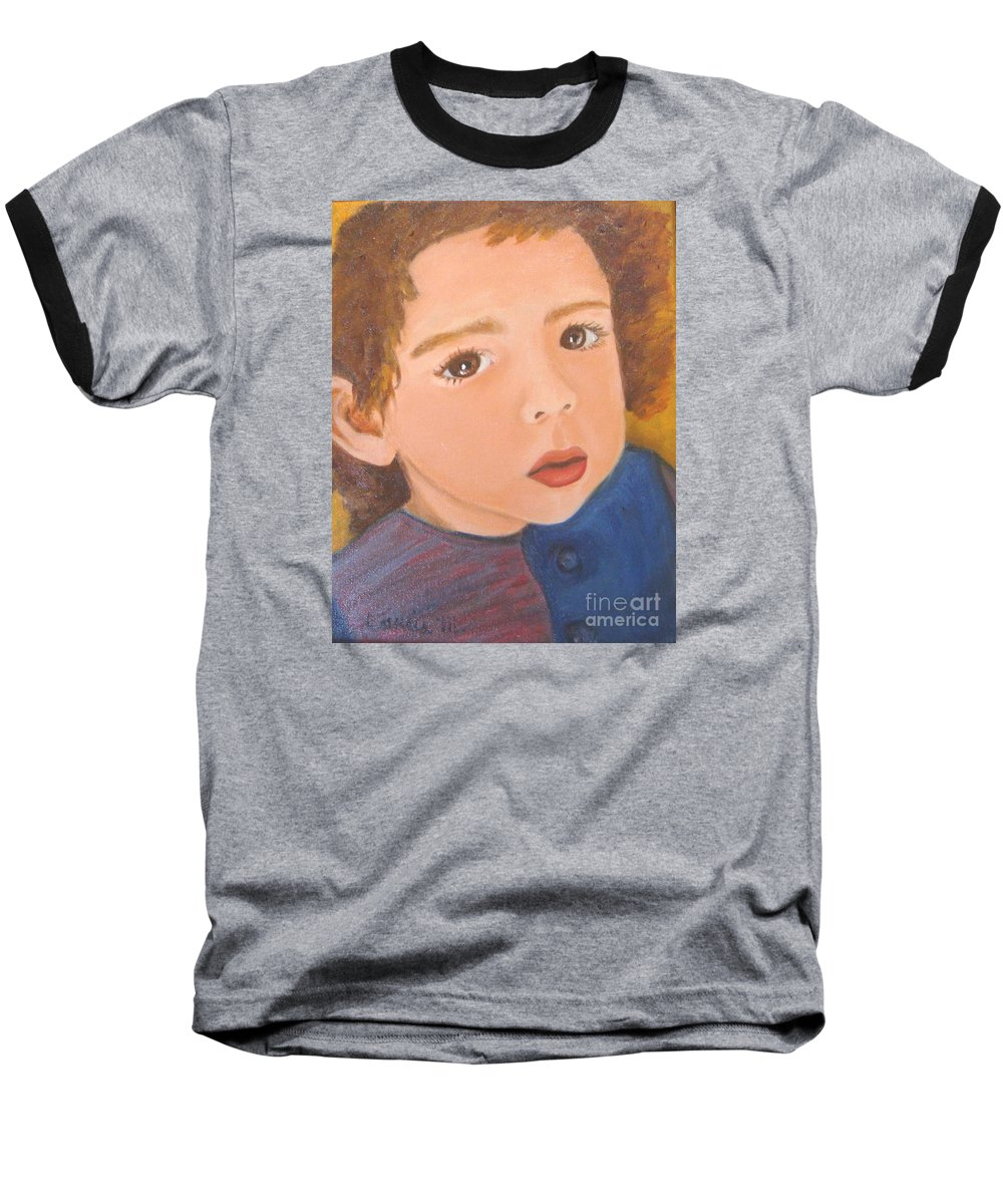 Portrait Baseball T-Shirt featuring the painting Jackson by Laurie Morgan