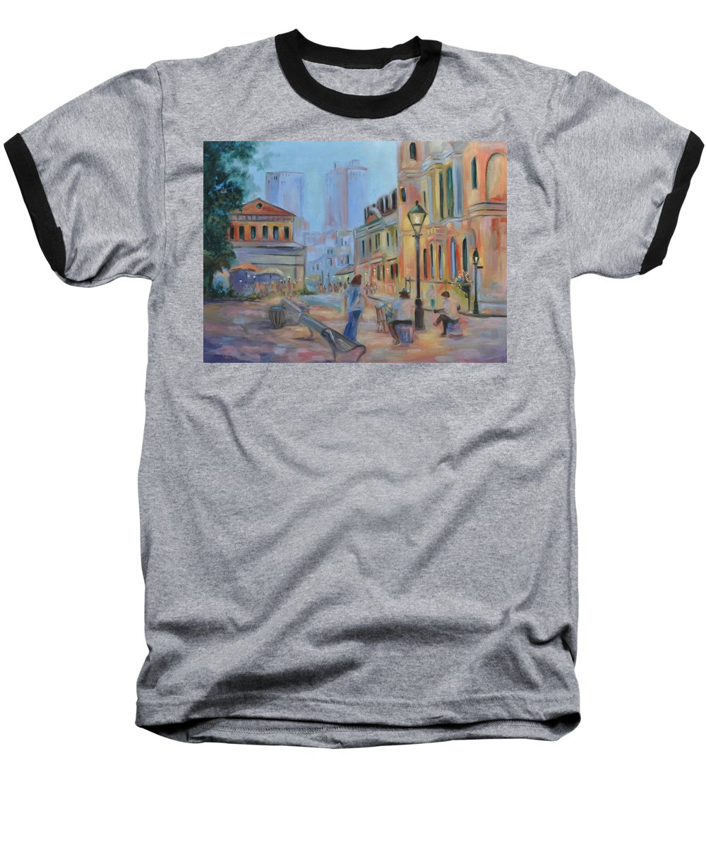 New Orleans Baseball T-Shirt featuring the painting Jackson Square Musicians by Ginger Concepcion